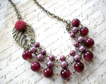 Statement Necklace Burgundy Necklace Flower Necklace Burgundy Jewelry Bib Necklace Maroon Necklace Burgundy Bib Necklace Leaf Necklace