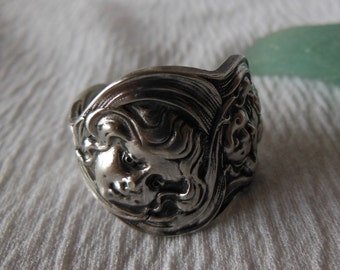 Cupids Sunbeams  Antique Sterling Silver Spoon Ring