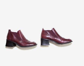Vintage Chelsea Boots 5.5 / Leather Ankle Boots / Oxblood Leather Boots / Ankle Boots Women