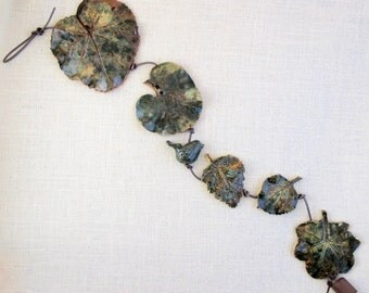 Ceramic Leaf Wall Hanging - Small Clay Bird - Made with Five Real Leaves - Decorative Leaf String - Leaf Impression Patterns - Hollyhock