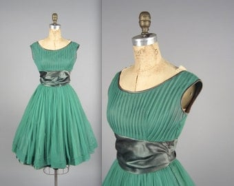 1960s JONATHAN LOGAN party dress • vintage 60s dress • green evening dress