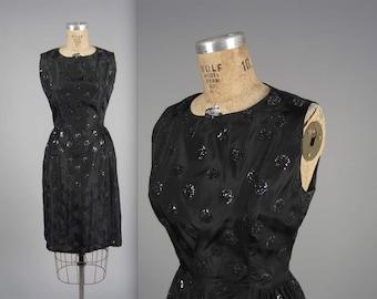 1950s glitter party dress • sparkly vintage 50s dress • polka dot cocktail dress