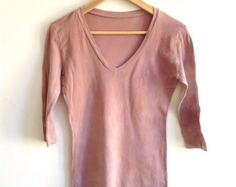 Pink Clay Hand Dyed Long Sleeve Top