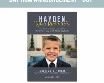 LDS Baptism Invitation 5x7-Boy Baptism Announcement-Great to Be Eight
