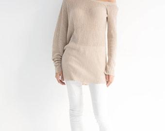 NEW Linen Sweater / Summer Sweater / Summer Jumper / Green Sweater / Knitted Sweater / Asymmetric Sweater / marcellamoda - MB857