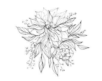 Original Pen & Ink Drawing - Dahlia Floral