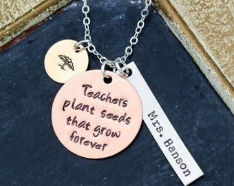 FREE SHIP • Teacher Necklace Custom Teacher Gift • School Teacher Appreciation Gift Thank You Gift Student Back to School Gift High School