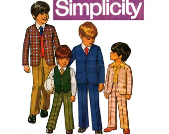 Vintage Toddler Boys 3 Piece Suit Simplicity 9651 1970s Sewing Pattern Size 2 Chest 21 Inches