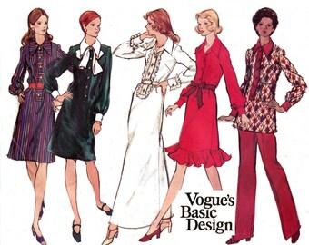 70s Shirtdress Tunic Pants Pattern Vogue Basic Design 2749 Size 14 Bust 36 inches