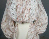 Antique Edwardian Red/Rust White Blouse Top with Lace and Unusual Sleeves