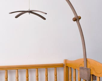 Baby Crib Wooden AMERICAN WALNUT Mobile Arm, Baby Mobile Stand, Nursery Mobile Crib Holder