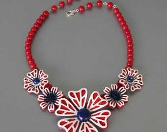 Prettied gets Patriotic Necklace inRed White and Blue