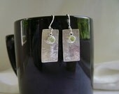 Peridot Earrings, Sterling Silver, Textured Silver, Apple Green Peridot, Gemstone Jewelry, Anticlastic, Concave, Rectangle, Geometric, 992