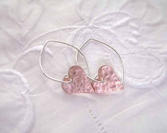 Copper Heart Earrings, Dirty Hearts, Sterling Silver Marquise Ear Wires, Valentine Earrings, Hammered Oxidized Copper, Artisan Jewelry, 1004