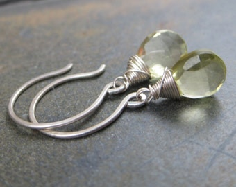 Lemon Quartz Briolette Earrings - Faceted Tear Drops -  Sterling Silver Hook Earrings