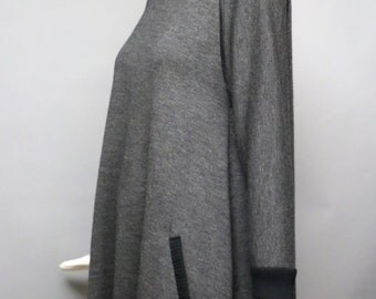 90s GEOFFREY BEENE avant garde jersey knit tent swing dress w large zipper vintage 1990s os