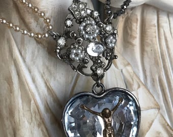 heart of glass - necklace sacred heart ex voto rhinestone vintage pearl beaded chain gemstone ruby catholic religious, by the french circus