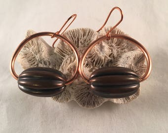 Copper Hoop Earrings with Antiqued Wide Oval Bead Accent on Copper Ear Wires 1.75 Inches Long 1 Inch Wide