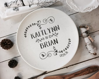 1013nan-w Hand Painted Personalized Wedding Platter, Couple's Gift Plate, Personalized Couple's Name Plate, Personalized Ceramic Wedding