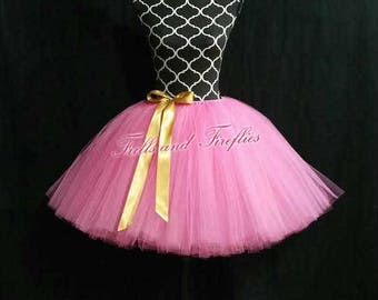 Pink Tutu Skirt with Gold Satin Bow..MANY COLORS to Choose Fromm...... Sizes from From Newborn up to Adult