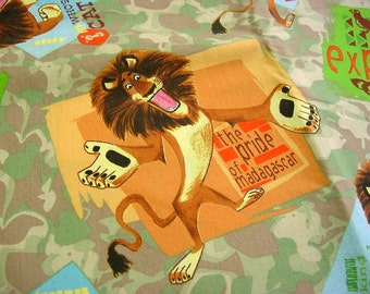 Pride of Madagascar Lion Cotton Fabric -Olive Green Camel Tan Camouflage Jungle Explorer Safari OOP 2005 DreamWorks 1078