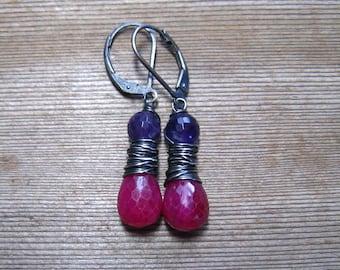 Ruby and Amethyst Teardrop Dangle Earrings,  July Birthstone Jewelry,  Wire Wrapped In Sterling Silver, Ruby Jewelry, Red Ruby Earrings