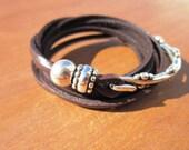 wrap leather bracelet, boho wrap bracelet, wrap bracelet leather, beaded wrap bracelet, bohemian bracelet, wrap leather bracelet