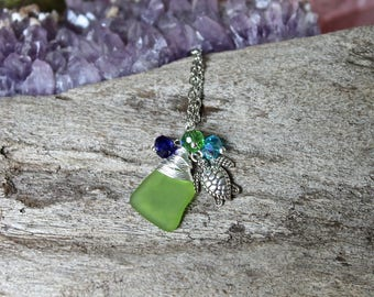 Sea Turtle Anklet - Sea Glass Jewelry from Hawaii - Hawaiian Jewelry - Hawaiian Honu Jewelry - Sea Turtle Ankle Bracelet - Beach Boho Anklet