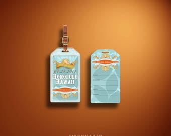 WINONA Seashell inspired Save the Date hard case / rigid plastic Luggage Tag