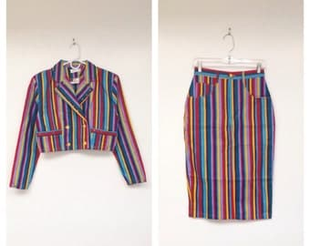 Vintage 1990s Bright Striped Two-Piece Denim Cropped Jacket and Skirt Set
