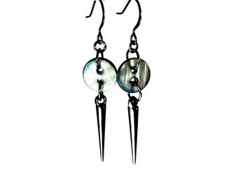Gunmetal Spiked Earrings, Gray Button Earrings with Spikes, Spiked Jewelry, Upcycled Jewelry, Edgy and Cute, Dangle Earrings