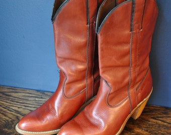 Vintage size 7 Rust Colored Cowboy Boots