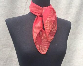 Vintage Red Chiffon Scarf, 60's Sheer with Metallic Gold, Neckscarf, Headscarf, Hair Wrap