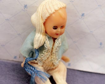 Miniature Dollhouse Baby Doll Hard Plastic Original Clothes Vintage 3 inches