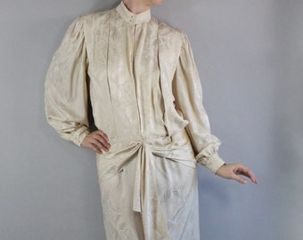 Art Deco Silk Dress, Cream Dress, 80s does 20s, Flapper, Wedding, Long Sleeve, Knee Length, Courthouse Wedding, Wedding Guest, Medium
