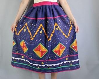 Boho Skirt, 70s Skirt, Mexican Skirt, Gypsy, Bohemian, Geo, Modern Art, Festival Skirt, Hippie Skirt, Summer, Cotton, Frida Kahlo, Medium