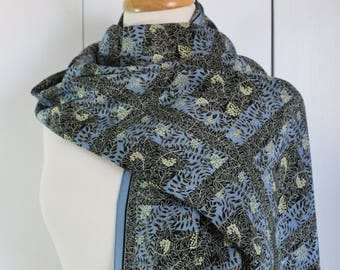 Marja Kurki Finland Silk Scarf, Large Scarf, Leaves, Summer Scarf, Periwinkle Blue, Black, Gift for Her, Oblong Scarf