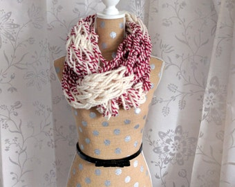 Candy Cane Chunky Knit Infinity Scarf - Red and White - Arm Knit Scarf - Loose Weave Scarf