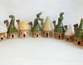 Garden Fairy Houses - You Pick  3-10 or more - Houses/Tree - Handmade on the Potters Wheel -- You Choose