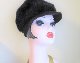 Vintage Dark Brown Faux Fur Hat / 1960's Furry Winter Brim Bill Cap