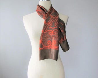 Vintage 1960's Brown and Orange Scarf / Ladies Long Length Fabulous Retro Neck Scarf Italy