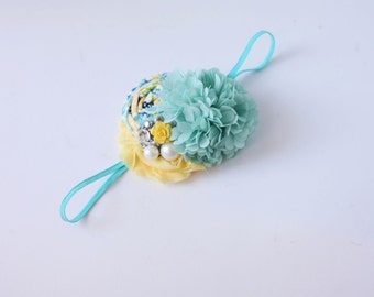 Garden Portrait aqua yellow chiffon rosette flower headband bow