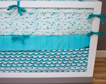 Fish Crib Bedding, Baby Bedding, Ocean Waves Baby Nursery Crib Set, Turquoise, Aqua, Mint, Teal Fish Bumpers, Waves Crib Skirt