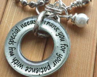 Special needs Teacher necklace or key chain Thank you for your patience with my special needs 13/16 silver washer word pendant with chain