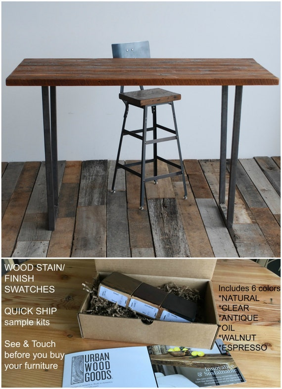 Items Similar To Barnwood Desk With Steel Table Legs