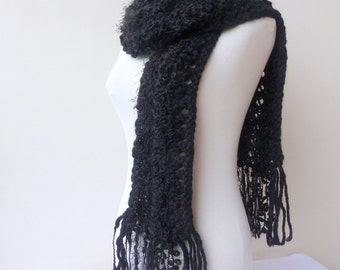 Black knit scarf Chunky black and cream scarf Unique hand knitted scarves