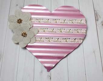 Pink Metal Heart Wall Art - Heart Wall Hanging - Shabby Chic Heart