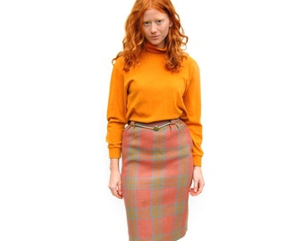 Peach/grey/mustard plaid knee length midi skirt PETITE 1970s 70s VINTAGE