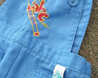 1970s vintage Sears Garanimals, kids blue cotton overalls size 24 months, pockets, retro embroidery, red & yellow ABC text, crayon
