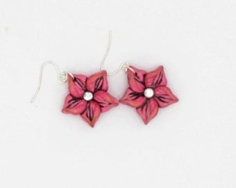 Red Flower Earrings, 1.5 Inches Long; Crimson Plumeria; Polymer Clay; Floral Earrings; Holiday Fashion; Style #: REF04